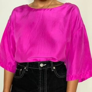 vintage purple pink silk oversized blouse